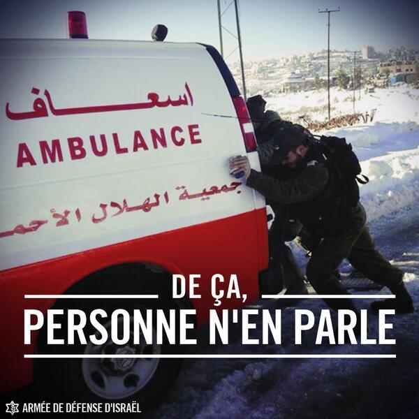 Soldats de Tsahal aidant une ambulance palestinienne.....
